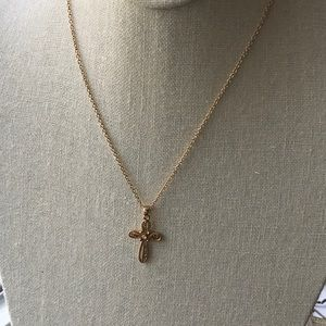 Lia Sophia plated filigree cross,  gold tone chain